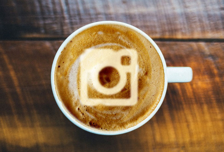 Coffee with Instagram logo in the foam