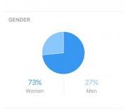 Breakdown of gender demographics on Instagram Insights