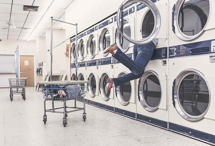 Someone falling into a washing machine meant to represent your life being chaotic