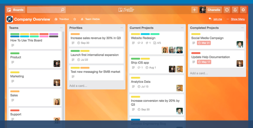 Trello screenshot example of open projects